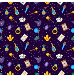Magic decorative icons seamless pattern vector image