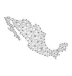 Map of mexico from polygonal black lines and dots vector