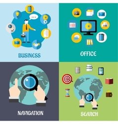 Navigation search and business flat concepts vector image vector image