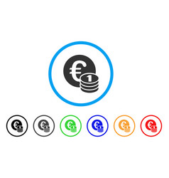 One euro coin stack rounded icon vector