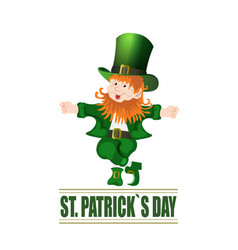 patrick day cheerful leprechaun green hat vector image