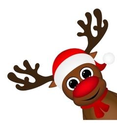Reindeer peeking sideways on a white vector