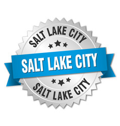 Salt lake city round silver badge with blue ribbon vector
