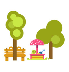 Sandbox for children near green trees and wooden vector