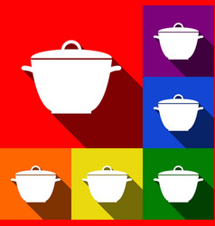 Saucepan simple sign set of icons with vector