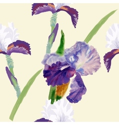Seamless pattern with watercolor irises-03 vector