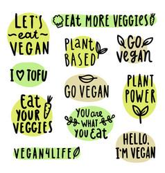 set of vegan lettering vector image vector image