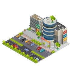 Shopping Center Street View Isometric Composition vector image vector image