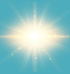 sun in the blue sky vintage background with vector image