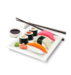 Sushi realistic set vector