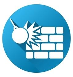 Wall destruction gradient round icon vector