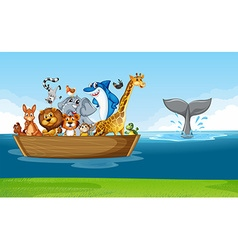 Wild animals riding on wooden boat vector image