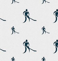 Winter sport hockey icon sign seamless pattern vector