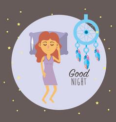 Woman sleeping and taking good night vector