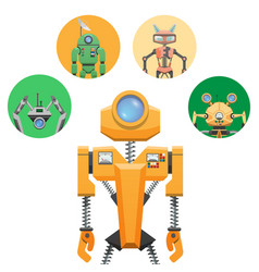 Yellow robot with retractable round eye four icons vector
