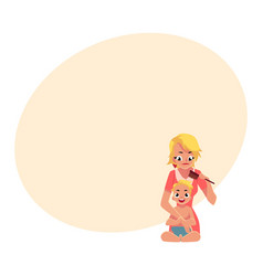 Young mother combing her baby hair half length vector