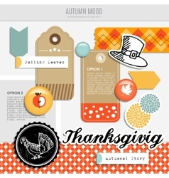 Set of autumn fall scrapbooking and web vector