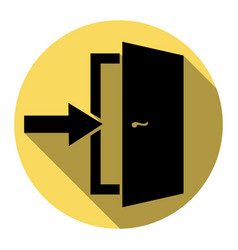 Door exit sign flat black icon with flat vector