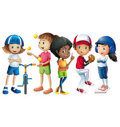 Many children in different sport outfit vector