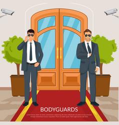 Bodyguard at doors vector