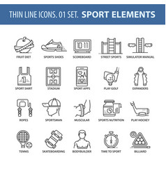 set of thin line flat icons sport vector image