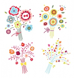 Set of colorful bouquets vector