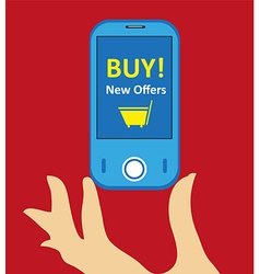 online mobile shopping background vector image