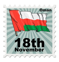Post stamp of national day of oman vector