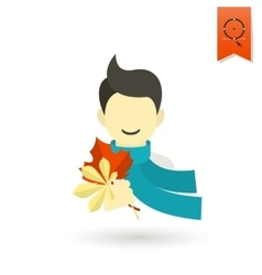 Cheerful boy with leaves vector