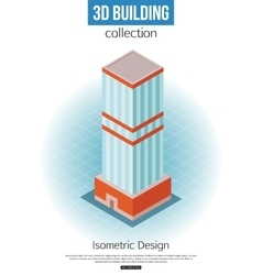 3d isometric tall building icon for map building vector
