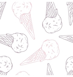 Doodle ice cream in a waffle cone outline vector