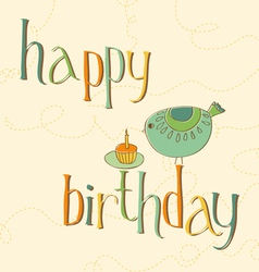 Greeting birthday card with cute bird and cake wit vector