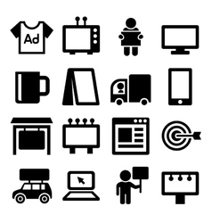 Advertisement icons set on white background vector