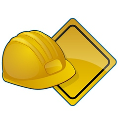 Hardhat and road sign vector