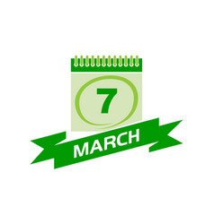 7 march calendar with ribbon vector