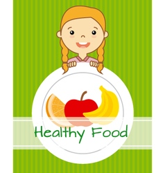 Girl with fruit vector