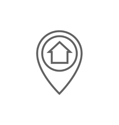 Pointer with house inside line icon vector