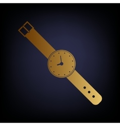 Watch sign golden style icon vector