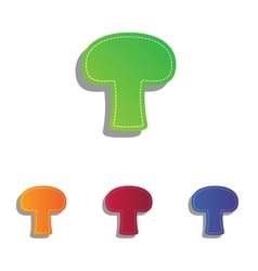 Mushroom simple sign colorfull applique icons set vector