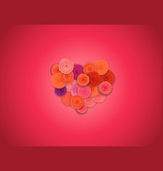 Abstract heart of flowers greeting card layout vector