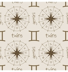 Astrology sign twins seamless pattern vector