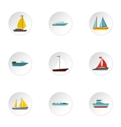 Boat icons set flat style vector