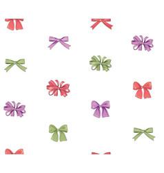 Bow seamless pattern girlish fashion white vector