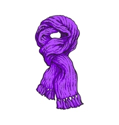 Bright purple slip knotted winter knitted scarf vector