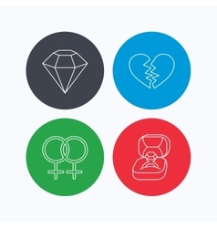 Broken heart diamond and engagement ring icons vector image