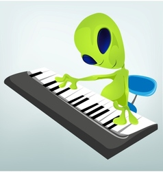 Cartoon alien Piano vector image vector image