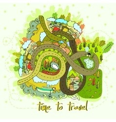 Cartoon map time to travel vector image vector image