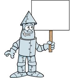 Cartoon tin man holding a sign vector image