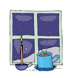 christmas mug and candle near the night window vector image vector image