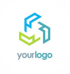 circle colored technology logo vector image